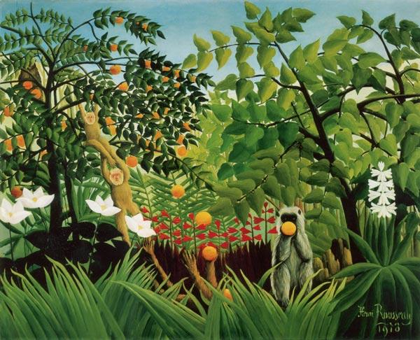 Rousseau-exotic-landscape-with-playing-monkeys